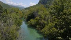 AERIAL: Lazy river  running through the forest Stock Footage