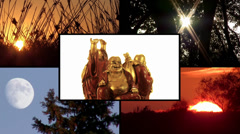 Buddha's way. A collage including sun, moon and Buddha's life moments concept Stock Footage