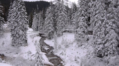 AERIAL: Snowy nature in winter Stock Footage