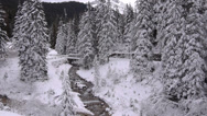 Stock Video Footage of AERIAL: Snowy nature in winter