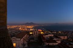 aeral view of naples in sunset - stock photo