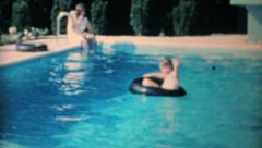 Little Girl Learns To Swim In Backyard Pool-1967 Vintage 8mm film Stock Footage