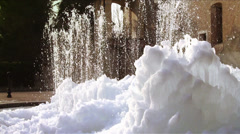 Fountain in winter Stock Footage