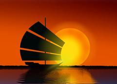 Ship sailing at sea during sunset Stock Illustration
