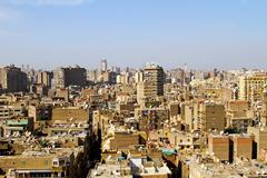 aerial shot of bulaq neighbourhood in sunny cairo. - stock photo