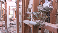 Stock Video Footage of Detail shot of debris inside a house in the process of being demolished.