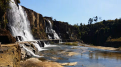 Scenic waterfall flow in wild mountains Stock Footage