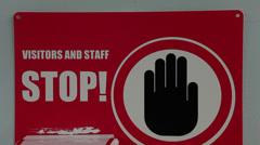 Tilt shot of hospital hand sanitizer Stock Footage