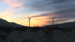 Windmills of Palm Springs California at Sunset- 1 in Series Stock Footage