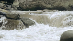 LR pan over mountain river in Andes, slow motion Stock Footage