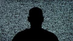 White Noise TV Man Silhouette Stock Footage