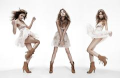 Triple image of fashion model in different poses Stock Photos