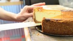 Cheesecake Being Cut put in To Go Box - stock footage