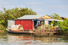 Floating house in tonle sap, siem reap, cambodia Stock Photos