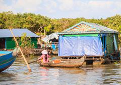 Cambodian lifestyle in tonle sap, siem reap, cambodia - stock photo