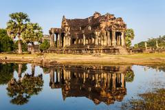 Reflection in angkor wat, siem reap, cambodia Stock Photos