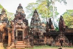 Banteay srey, ancient buddhist temple in angkor wat, cambodia Stock Photos