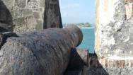 Stock Video Footage of Rusted Cannon in El Morro Castle