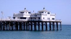 Restaurant on the end of Malibu pier on Malibu beach Stock Footage