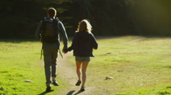 A couple run hand in hand towards a forest. Stock Footage