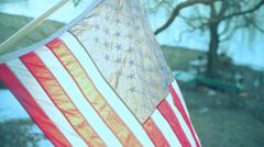 Backlit american flag USA Stock Footage
