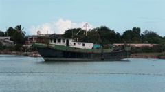 Fishing boat Antigua Island harbor HD Stock Footage