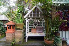 Vintage arbour in garden Stock Photos