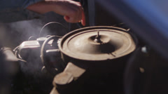 Close-up of an old Chevy pickup truck engine as it steams and fingers point to Stock Footage