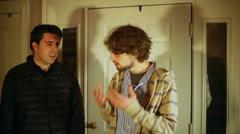 Nerd arguing nerdy engineer Stock Footage