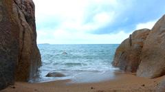Sea rock is breaking powerful wave Stock Footage