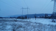 Winter 4K powerlines Stock Footage