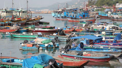 Stock Video Footage of Cheung Chau harbor colorful fishing boats