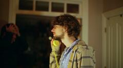 Scientist on phone talk talking nerd nerdy Stock Footage