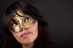 atractive woman with venetian mask - stock photo