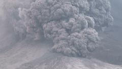 4K / HD Terrifying Pyroclastic Flow Tears Down Sinabung Volcano - stock footage