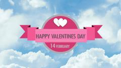 Vintage Valentines Day animated shapes with clouds. Stock Footage