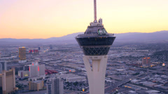 Aerial view of the Stratosphere Hotel in Las Vegas, Nevada. Stock Footage
