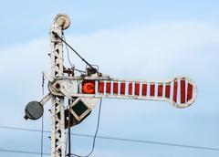 Train semaphore mechanical Stock Photos