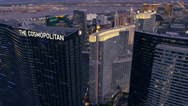 Stock Video Footage of Aerial view of The Cosmopolitan in Las Vegas, Nevada.