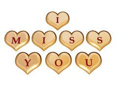 i miss you  - stock illustration