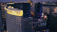 Stock Video Footage of Aerial view of the Aria and The Cosmopolitan in Las Vegas, Nevada.