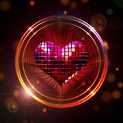 Shining disco heart Stock Illustration