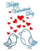 Stock Illustration of cute birds valentines day