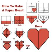how to make a paper heart - stock illustration
