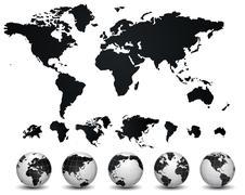 Stock Illustration of world map and globe