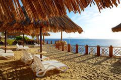 Beach decoration at the luxury hotel, Sharm el Sheikh, Egypt - stock photo