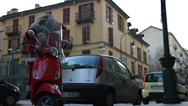 Stock Video Footage of Santa Claus parked on a Vespa