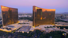 Aerial view of the Encore and Wynn hotels in Las Vegas, Nevada. Stock Footage