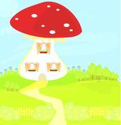 funny cartoon mushroom house - stock illustration