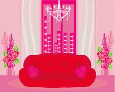 Fashionable interior of living room - vector Stock Illustration
